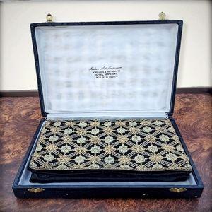1930s RARE vtg Indian embroidered velvet clutch
